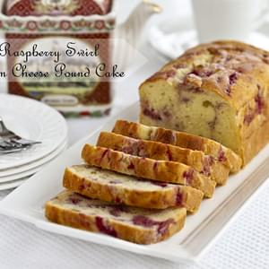 Raspberry Swirl Cream Cheese Pound Cake