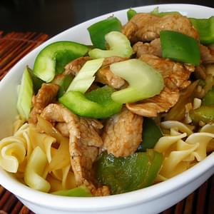 Hoisin Pork Stir-fry with Egg Noodles