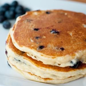 Easy, Fast Fluffy Pancakes to eat Plain or to add Blueberries, Chocolate Chips or more to!