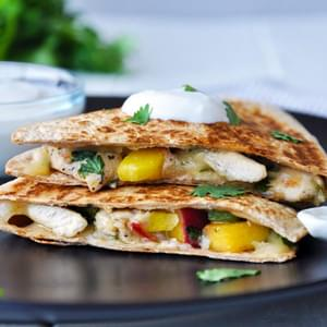Chicken & Peach Quesadillas with Honey-Lime Dipping Sauce