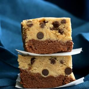 Vegan Cookie Dough Brownies. Gluten-free No Bake