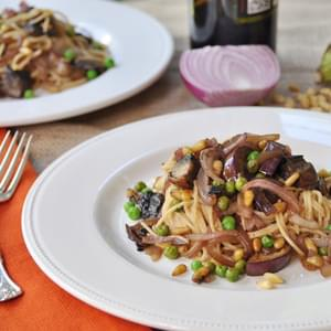 Smoky Pasta with Japanese Eggplant and Portobello Mushrooms