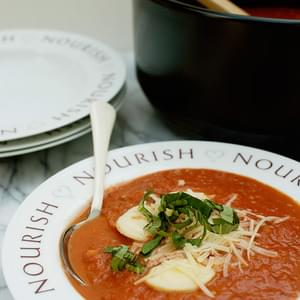 Tomato and Basil Soup with Mini Ravioli