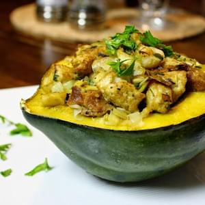 Leek And Apple Stuffed Acorn Squash