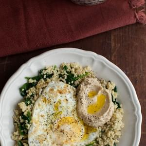 Garlicky Spinach, Millet, and Eggs