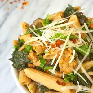 Sausage, Eggplant and Kale Pasta