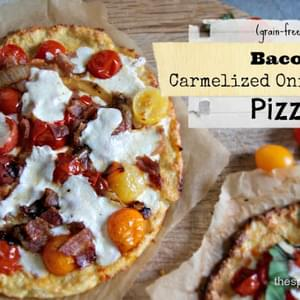 Bacon Pizza with Carmelized Onions and Honey (grain-free)