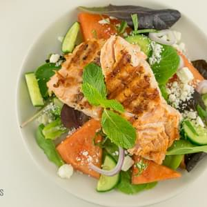 Grilled Salmon with Watermelon Feta Salad