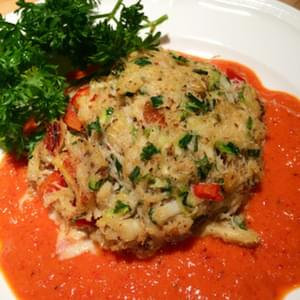 Zucchini Crab Cakes with Red Pepper Sauce