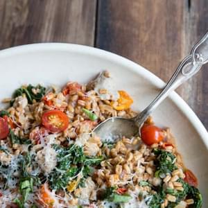 One-Pan Farro with Tomatoes, Sausage and Kale