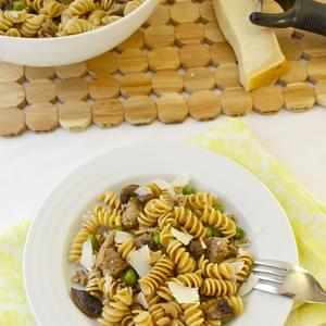 Rotini with Turkey Sausage, Mushrooms, and Peas