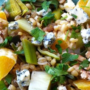 Kamut Salad with Leeks, Oranges and Blue Cheese