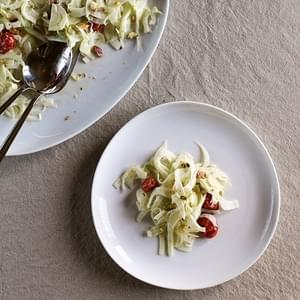 Shaved Fennel, Roasted Tomato & Pistachio Salad with Creamy Yogurt Dressing