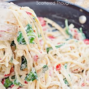 Lemon Ricotta Pasta with red peppers and spinach