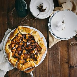 Sweet Potato, Maple and Cumin Galette with Goat Cheese Crumbles
