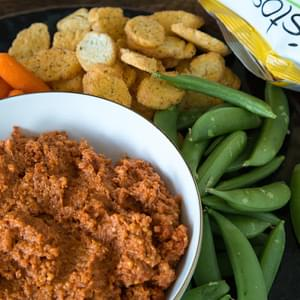 Roasted Red Pepper Dip with TWISTOS Asiago Flavored Baked Snack Bites