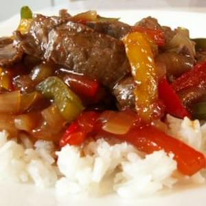 Easy Beef Pepper Steak with Rice