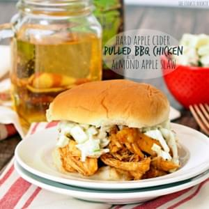 Hard Apple Cider Pulled BBQ Chicken Sandwiches with Almond Apple Slaw