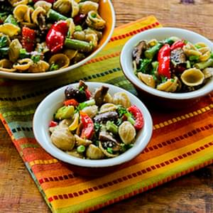 Whole Wheat Orecchiette Pasta Salad Recipe with Roasted Asparagus, Red Bell Pepper, and Mushrooms