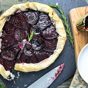 Balsamic Roasted Beet & Rosemary Cashew Cheese Phyllo Tart
