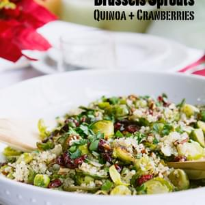 Gluten Free and Vegan Brussels sprouts with Quinoa and Dried Cranberries