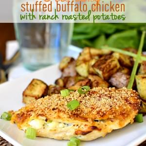 Crunchy Stuffed Buffalo Chicken Breasts with Ranch Roasted Potatoes