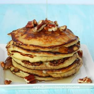 Easy Banana Pancakes with Pecans & Maple Syrup