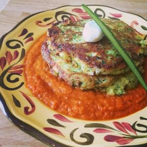 Zucchini Cakes w/Fresh Heirloom Tomato Sauce