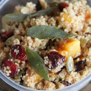 Butternut Squash and Couscous Salad with Dried Cranberries, Pumpkin Seeds and Sage
