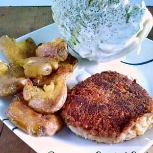 Parmesan Crusted Crab Cakes with Crispy Smashed Baby Potatoes