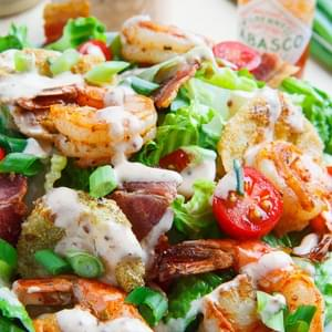 Blackened Shrimp and Fried Green Tomato Po Boy Salad