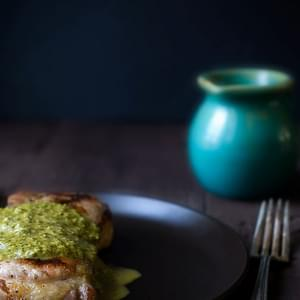 Grilled Pork Chops with Spicy Chimichurri Sauce