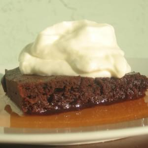 Banana Brownies with Watermelon Syrup and Yogurt Whipped Cream