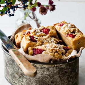 Raspberry and Apple Breakfast Slice with Oat Streusel