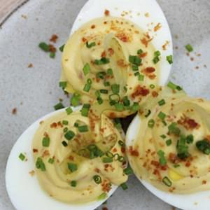 Deviled Eggs with Country Ham and Pickled Celery