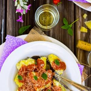Basil & Sweet Corn Gnudi with Blistered Cherry Tomato Sauce {gluten free}