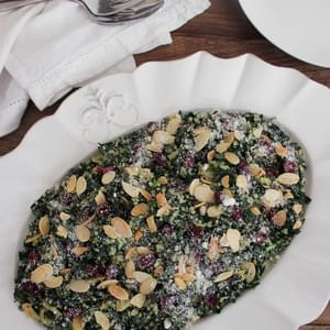 Kale Salad with Quinoa, Cranberries and Toasted Almonds