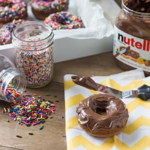 Nutella® Glazed Brown Butter Banana Whole Wheat Baked Donuts