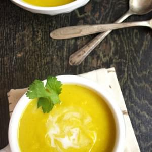 Roasted & Curried Butternut Squash Soup {Gluten Free & Low Fat}