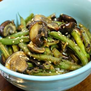 Stir-fried Green Beans And Mushrooms Over Rice