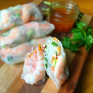 Fresh Rolls with Shrimp and Honey Lime Slaw