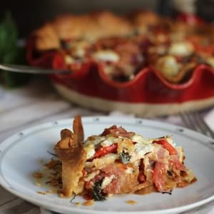 Fresh Tomato Pie with Goat Cheese, Bacon & Caramelized Onions
