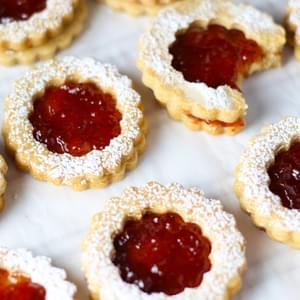 Linzer Cookies with Strawberry Jam