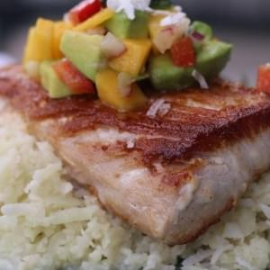 "Pan Seared Mahi Mahi over Sticky Coconut ""Rice"" with Mango Salsa"