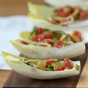 Asian Ahi Tuna and Avocado Stuffed Endive {Low Calorie, Low Fat, Easy}