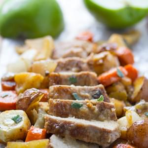 One Pan Roasted Pork Tenderloin with Apples, Sage, and Root Vegetables