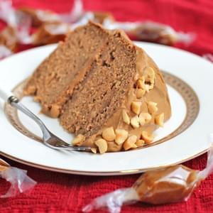 Healthy Peanut Butter Banana Cake with Caramel Frosting