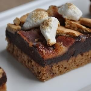 Bacon Kissed Sinful S'Mores (with Graham Cracker Shortbread, Black Pepper-Bourbon Chocolate Ganache, Candied Peppered-Bacon, and Cocoa Kissed Marshmal