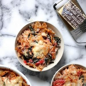 Super Cheesy Kale and Roasted Red Pepper Pasta Bake