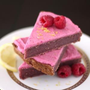 Raspberry-Lemon-Beet Blondie Wedges with TWO Pink Frosting Recipes